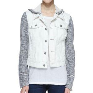 Free People White Grey Denim Hoodie Jacket Large